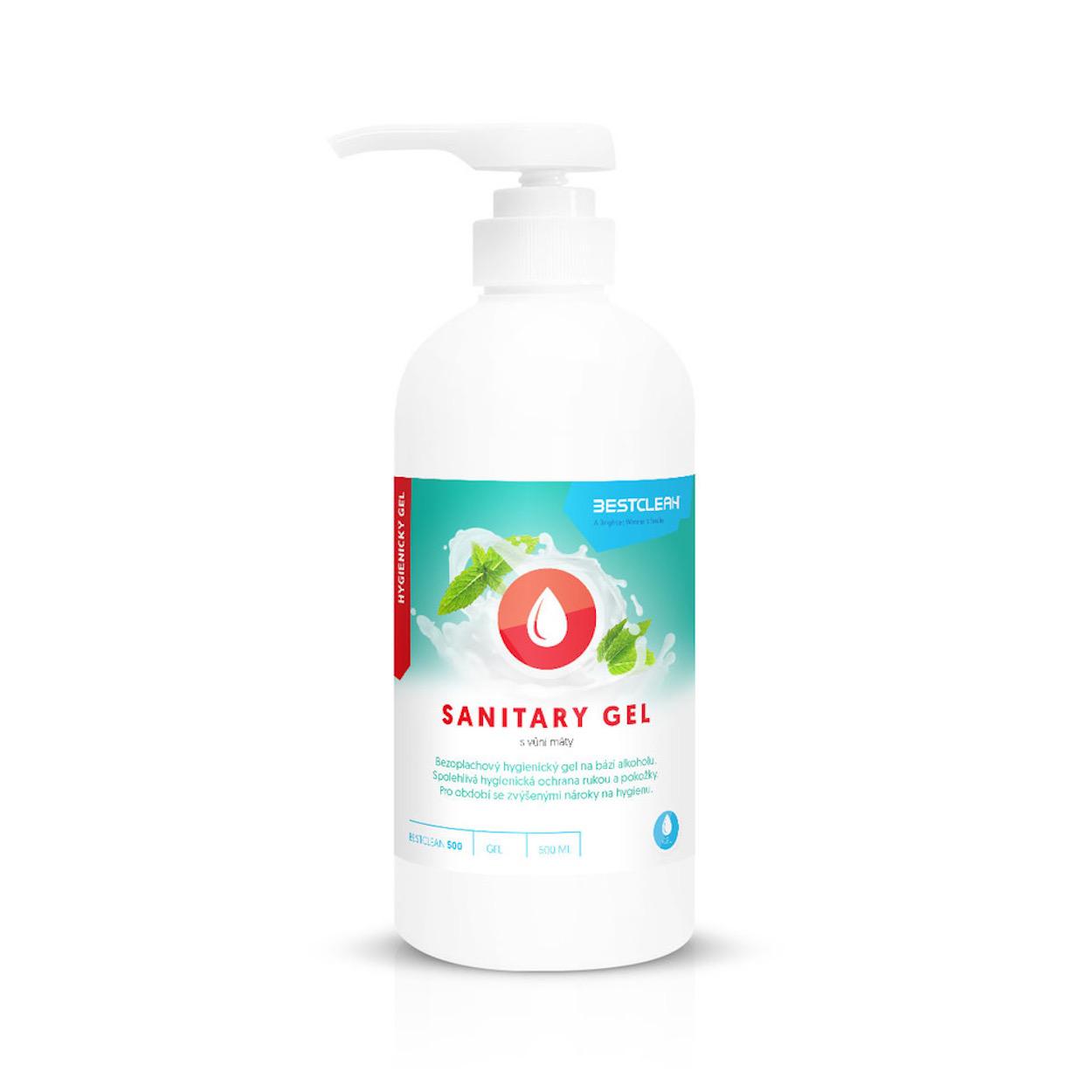 Bezoplachový hygienický gel na ruce s pumpičkou, máta, 500 ml