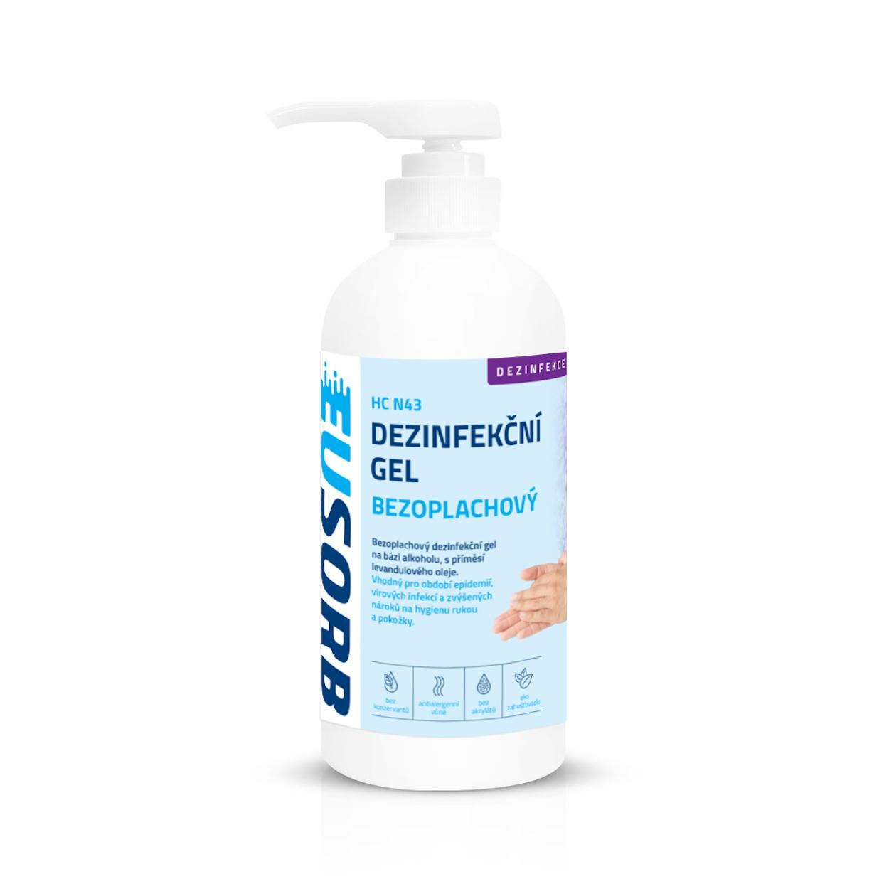 Bezoplachový hygienický gel na ruce s pumpičkou, levandule