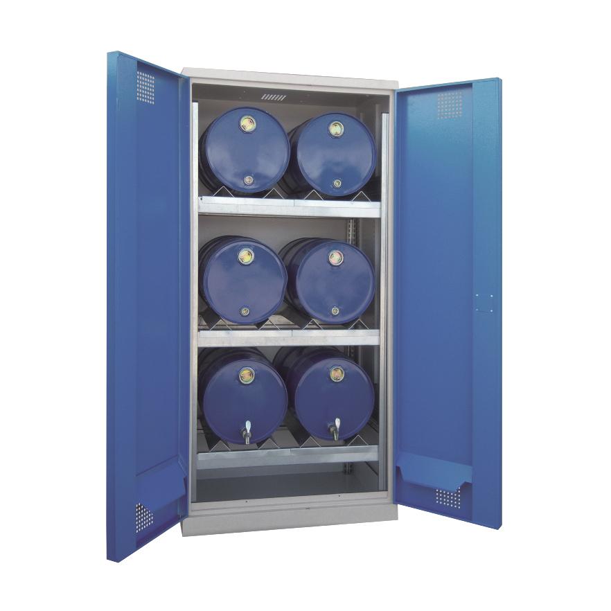 Certifikovaná uzamykatelná skříň pro skladování sudů