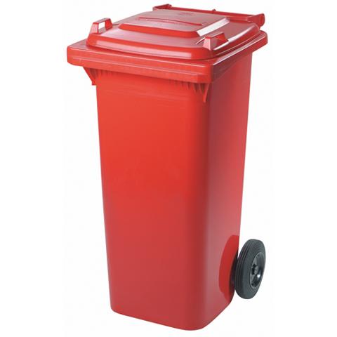 Plastová nádoba s kolečky, červená, 120l