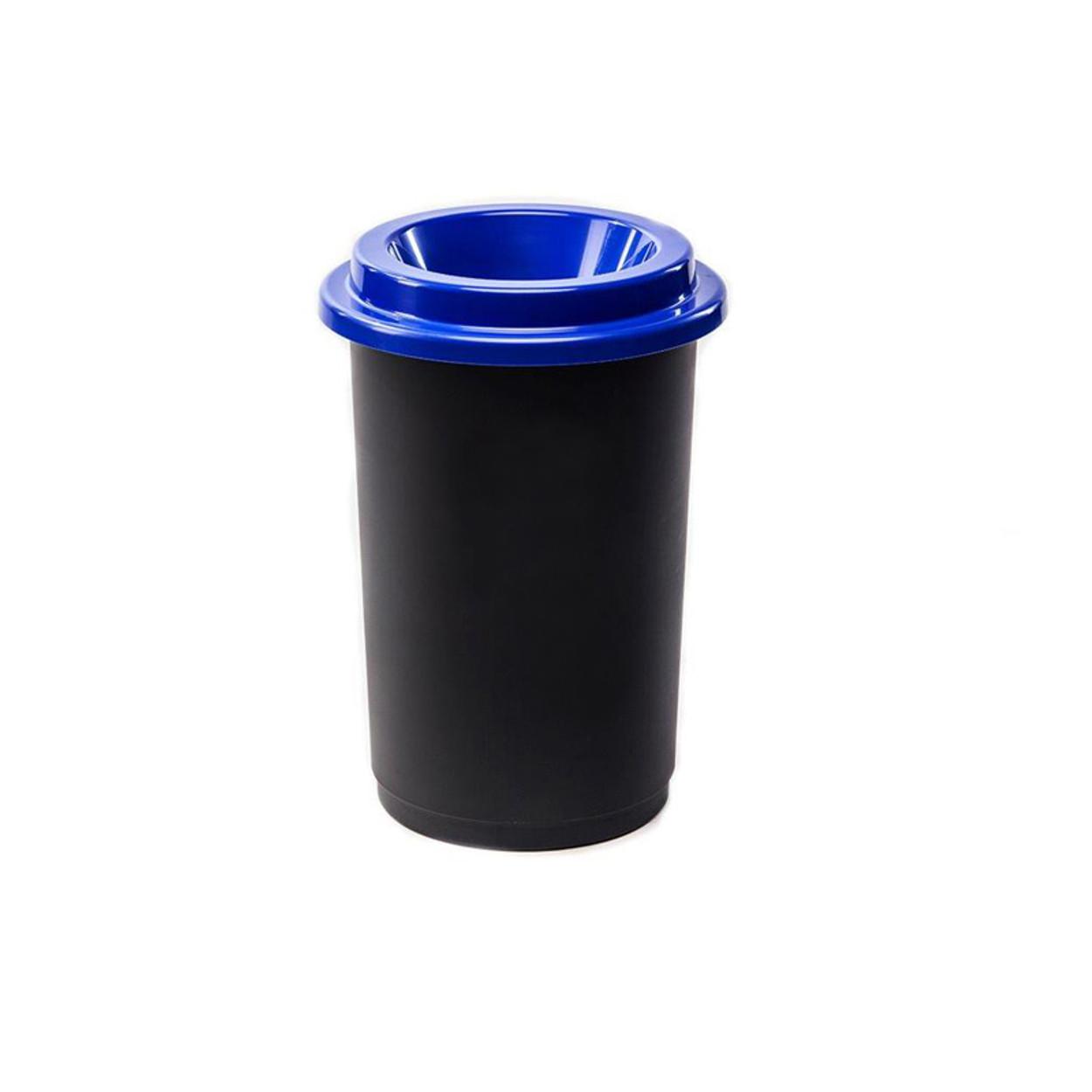 Kulatý plastový koš na tříděný odpad, 50 l, modrá