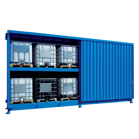 Venkovní sklad pro skladování IBC kontejnerů