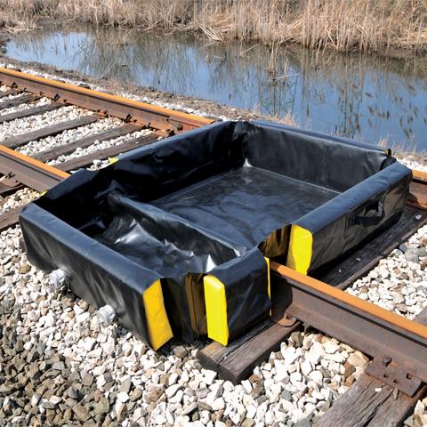 Skládací záchytná vana do kolejí