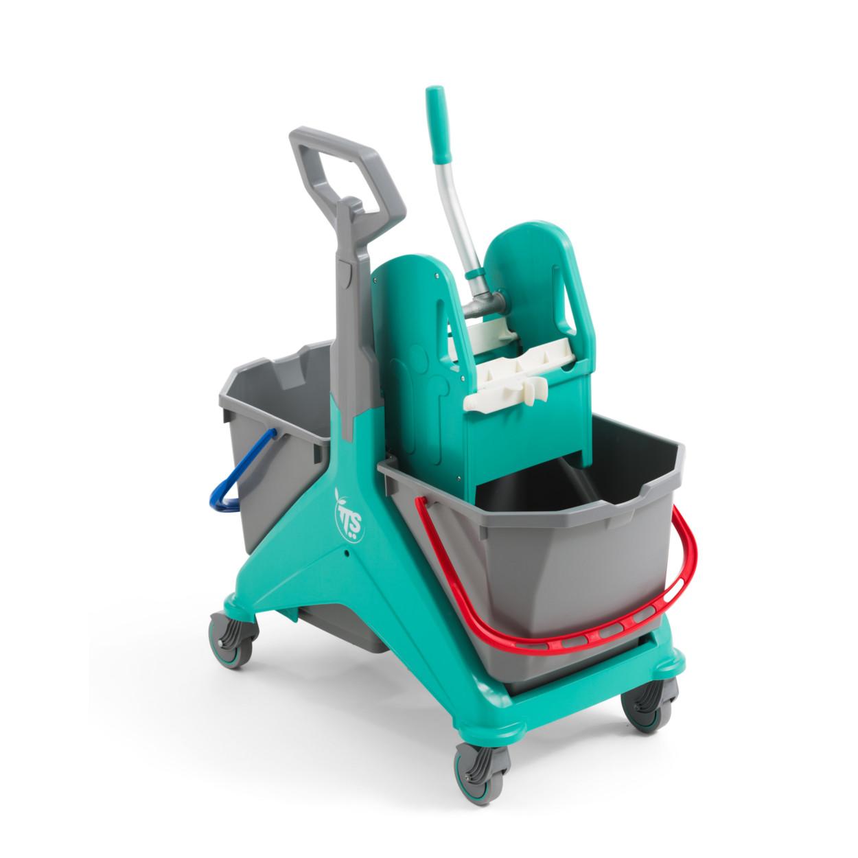 Plastový úklidový vozík se dvěma kbelíky a rukojetí