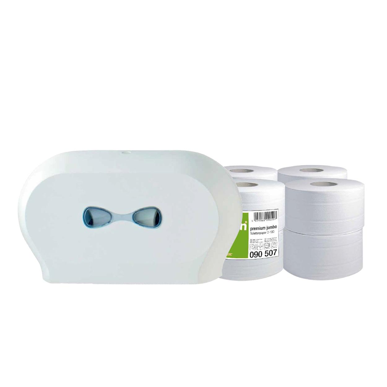 Set toaletních papírů Jumbo mini a zásobníku