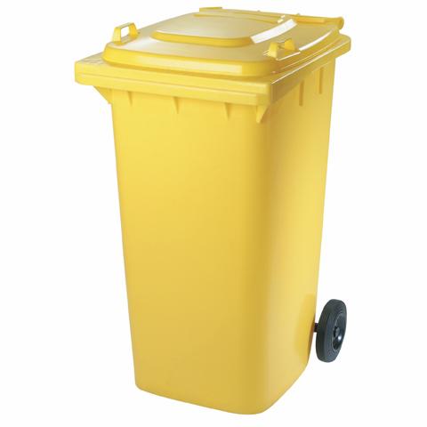 Plastová nádoba s kolečky žlutá