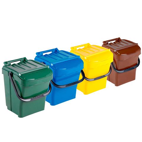 Sada čtyř odpadkových košů s držadlem a víkem