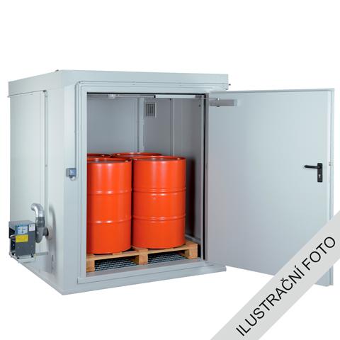 Protipožární kontejner - odolnost 90 minut s nucenou ventilací a aretací dveří