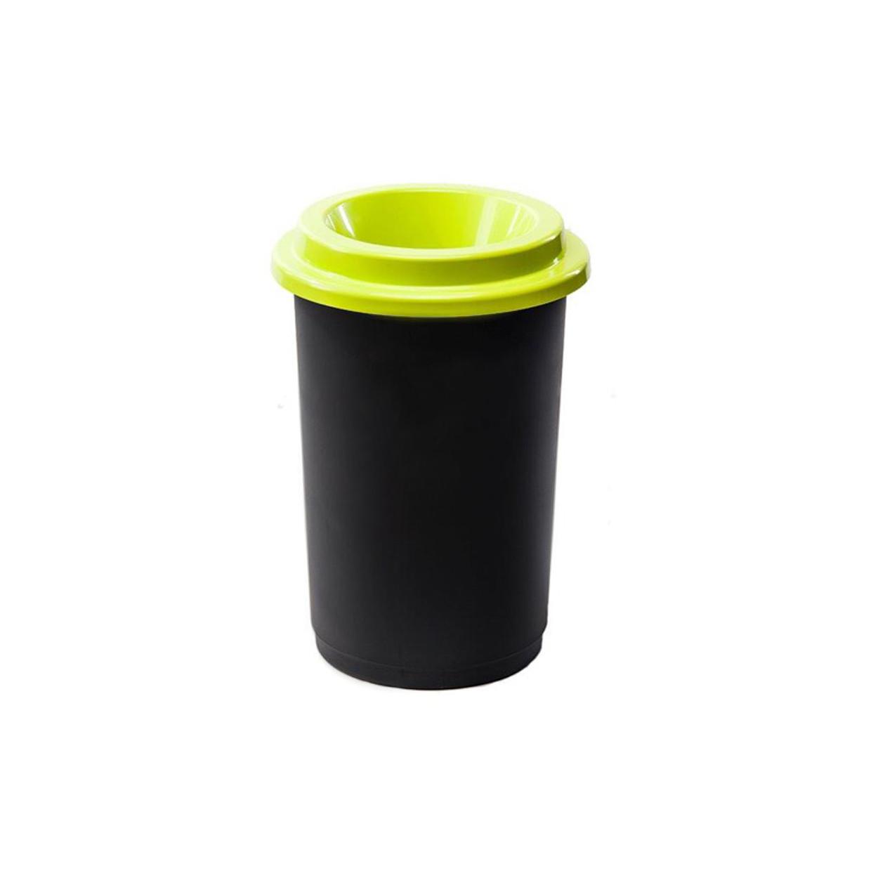 Kulatý plastový koš na tříděný odpad, 50 l, zelená