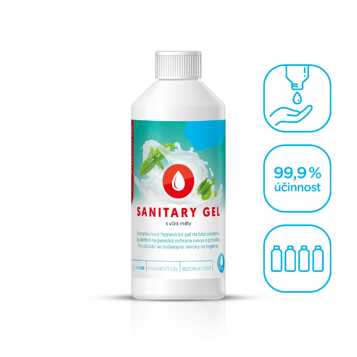 Bezoplachový hygienický gel na ruce, máta, 250 ml