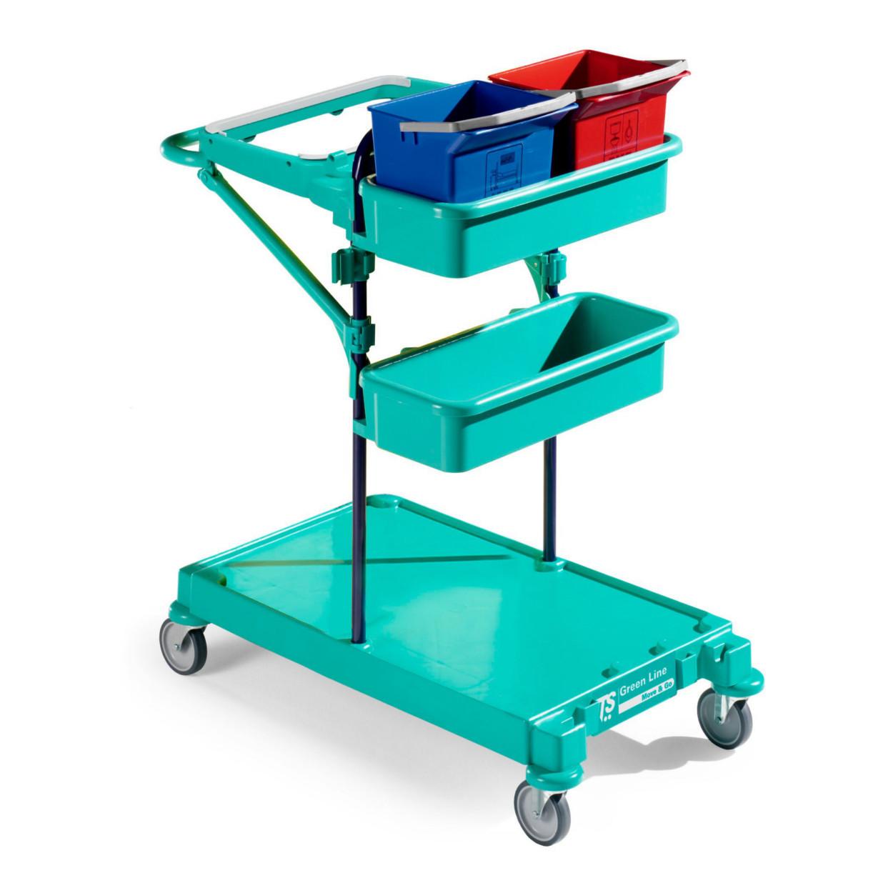 Multifunkční úklidový vozík s nastavitelnými prvky