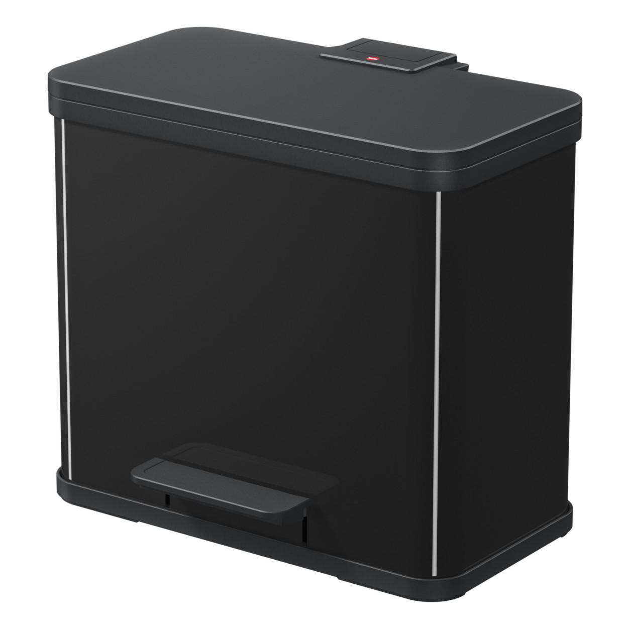 Kovový koš s tlumeným zavíráním TRIO, 3x9 l, černý