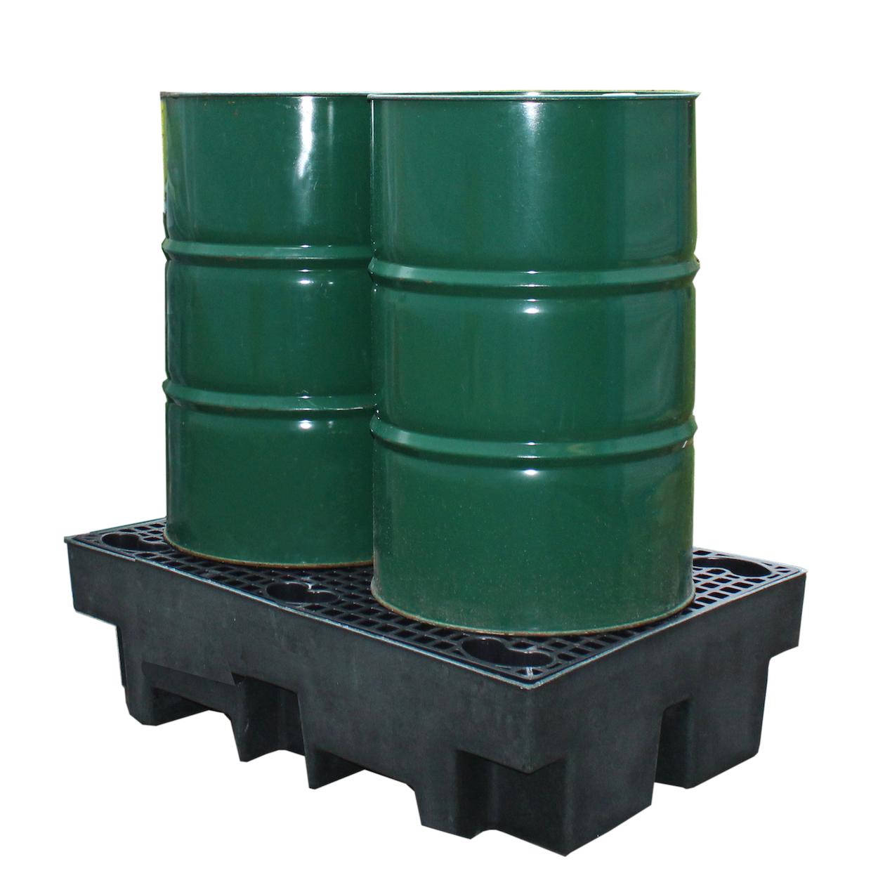 Černá záchytná vana pro 2 sudy - ekonomická varianta