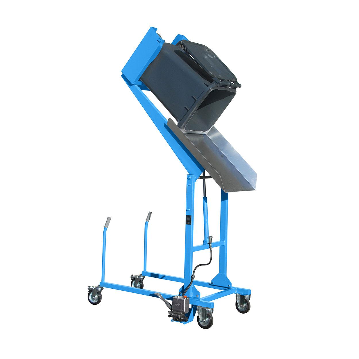 Pojízdný vyklápěč popelnic s nášlapnou pumpou