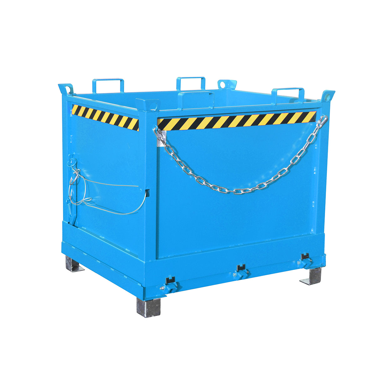 Stohovatelný kontejner s vyklápěcím dnem s lištami