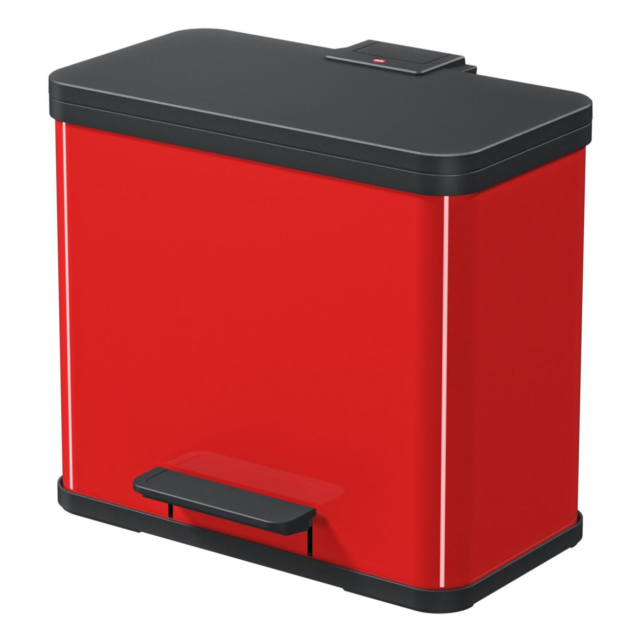 Kovový koš s tlumeným zavíráním TRIO, 3x9 l, červený