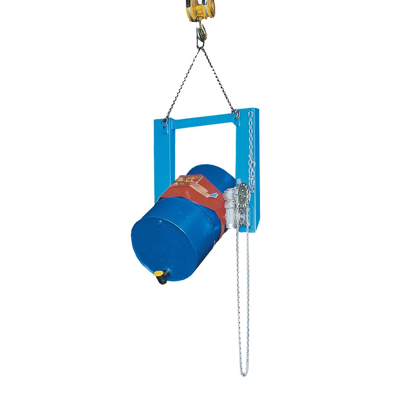 Vyklápěč sudů s mechanismem otáčení řetězem