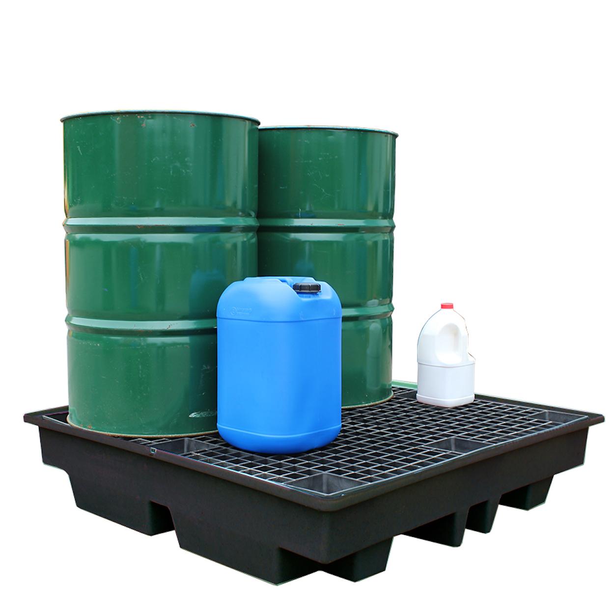 Černá záchytná vana pro 4 sudy - ekonomická varianta