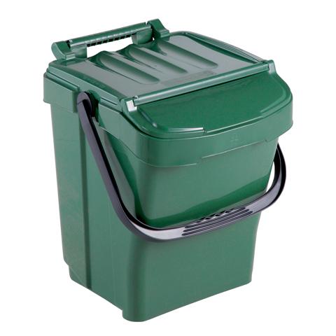 Odpadkový koš s držadlem a víkem, zelený