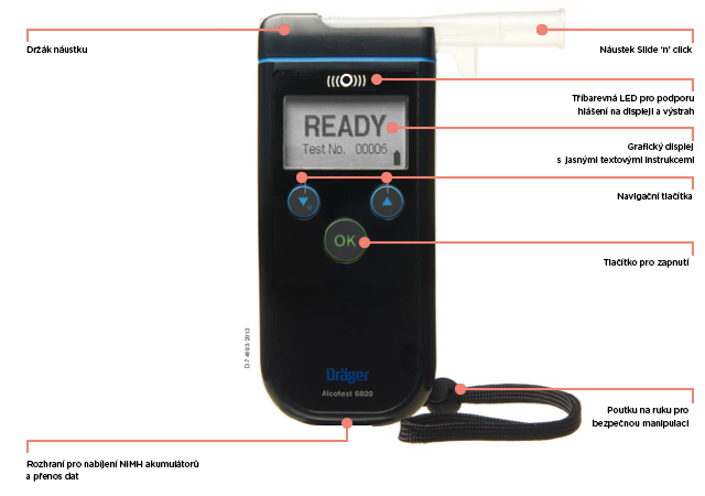 Certifikovaný detektor alkoholu